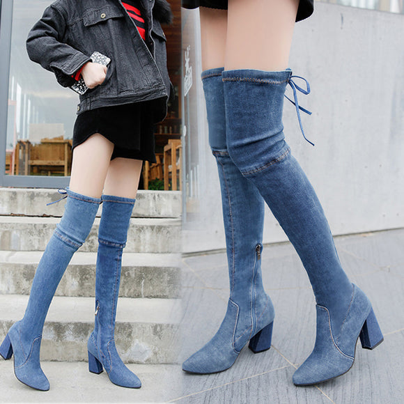 Women's Fashion Autumn Winter Over-the-knee High-heeled Boots