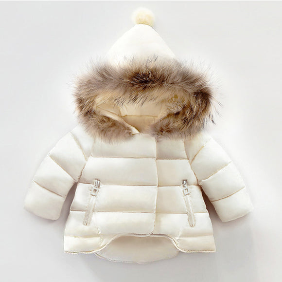 Kids' Basic Solid Faux Fur Hooded  Down Coats