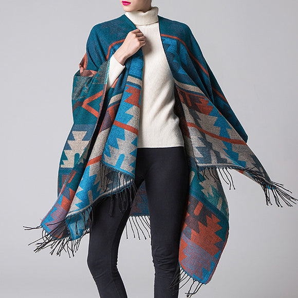 Woman Autumn Winter Geometric Printing Vintage Scarf