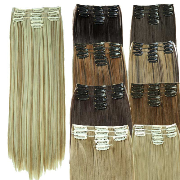 5 Pieces Set Straight Synthetic Clip-in Hair Extensions