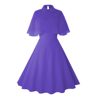 Women Vintage Pin Up Dress With Sheer Mesh Cape