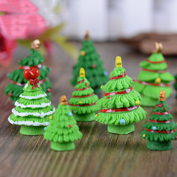 5PCS Creative Christmas Micro-landscape Christmas Tree Decoration Resin Crafts