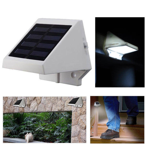 Outdoor Solar Powered 4led Lights Pathway Upstair Wall Mounted Garden Fence Yard Lamp