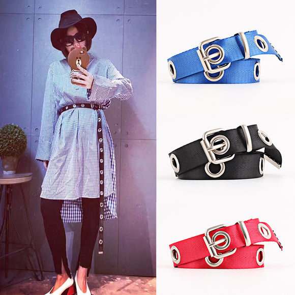 Fashion Hollow Out Longer Belt Decorative Neutral Canvas Belt