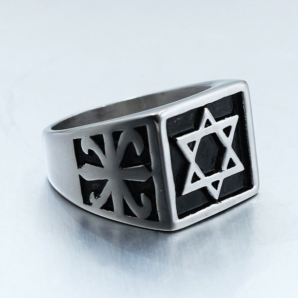 1PC Fashion Men's Six Pointed Star Titanium Steel Ring