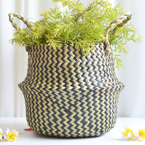 Seaweed Hand Woven Folding Plant Flower Pot Clothes Storage Basket Home Decoration