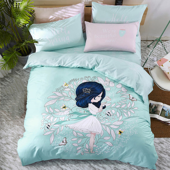 Cotton Soft Active Printing Four-piece Bedding Home Textiles