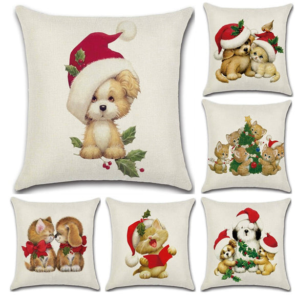 Christmas Theme Linen Hug Pillowcase Animal Sofa Cushion Pillowcase Home Textiles