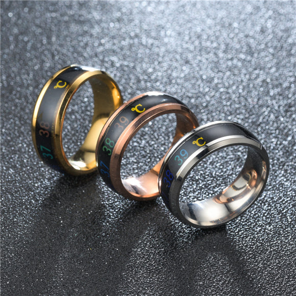 1PC Fashion Intelligent Temperature Sensing Lovers Ring