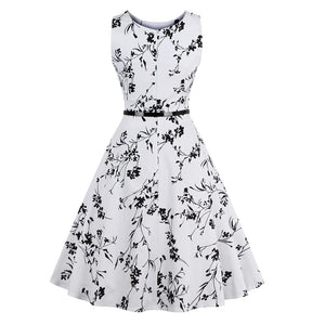 Women Round Neck Sleeveless Vintage Tea Dress With Belt