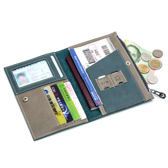Solid Passport Cover Set Layered Passport Package  Wallet