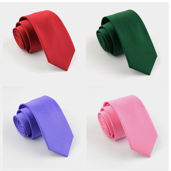 Men Solid Ties Green Color 6cm Slim Neck Ties Wedding Tie Skinny Groom Tie for Men