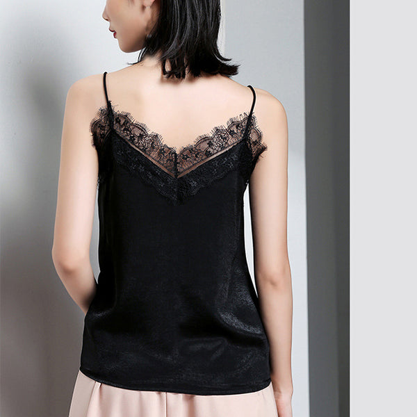 Sexy Tank Top Women Lace Solid Colour V-Neck Sleeveless Blouse