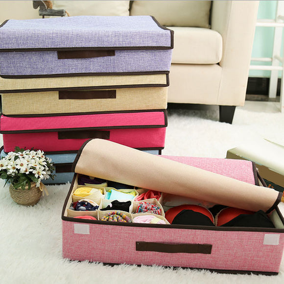 High Quality Cotton And Linen Storage Box Folding Mothproof Underwear Socks Storage Box