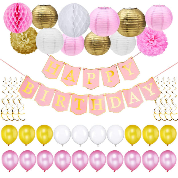 43pcs/set One Happy Birthday Banner Paper Lanterns Balloons Festival Decorations