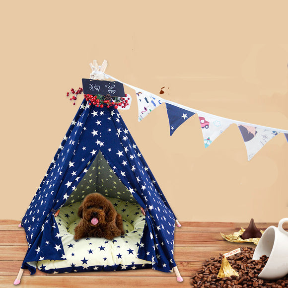 Star Pet Tent Cat Nest Kennel Removable Cotton Canvas Pet Nest