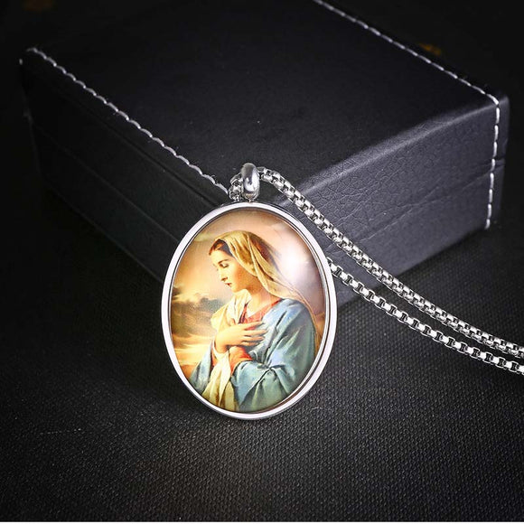 1PC Vintage Stainless Steel Madonna Ellipse Shaped Pendant Men's Necklace