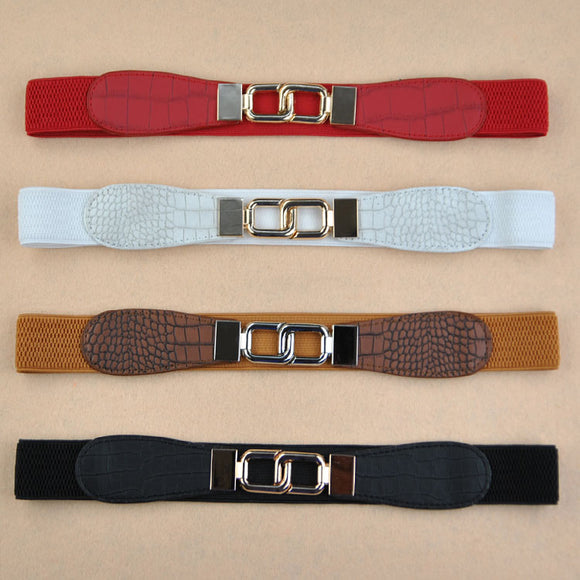 Women Metal Buckle Crocodile Grain Stretch Waist Belt Waistband