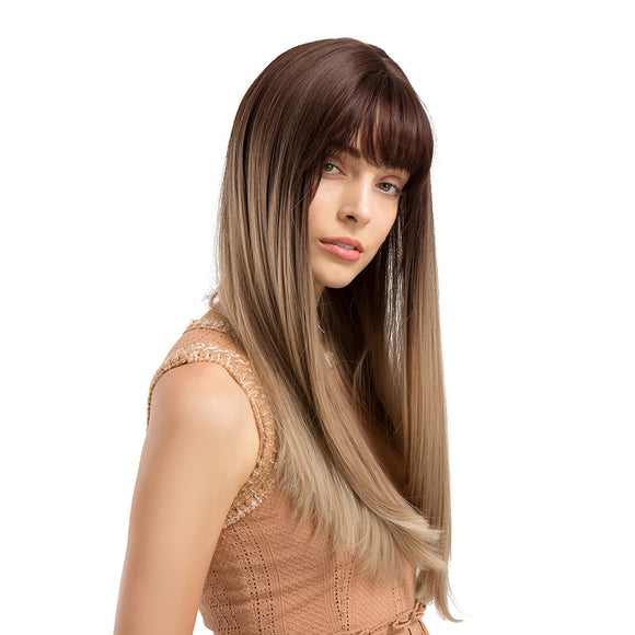 Long Full Neat Bang Straight Ombre Charming Synthetic Wig