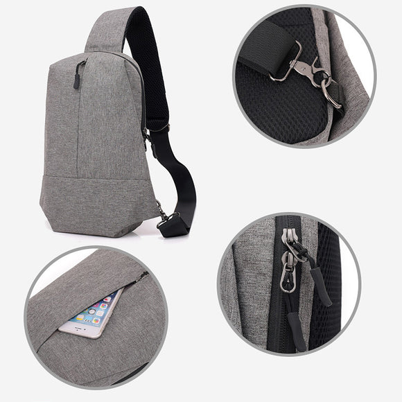 Simple Zipper Chest Bag Casual Fashion Men Sport Shoulder Bags
