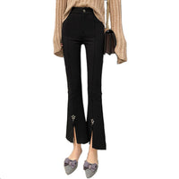 Stars Slit Pants Raw Edge Stretch Black Trousers Boot-cut Pants For Women