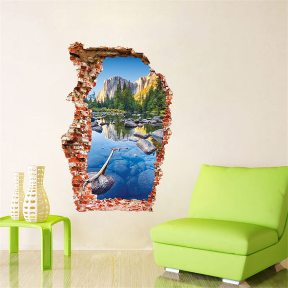 Creativity 3D Stereoscopic Breaking Wall Scenery Wall Sticker Home Decoration