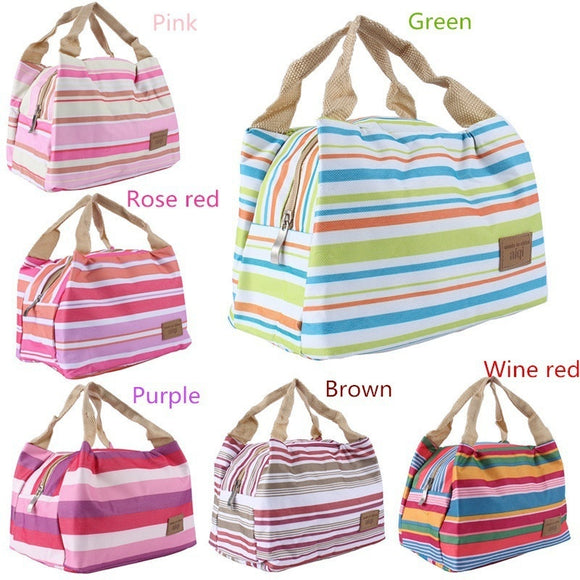 Insulated Canvas Stripe Picnic Totes Carry Case Portable Lunch Bag