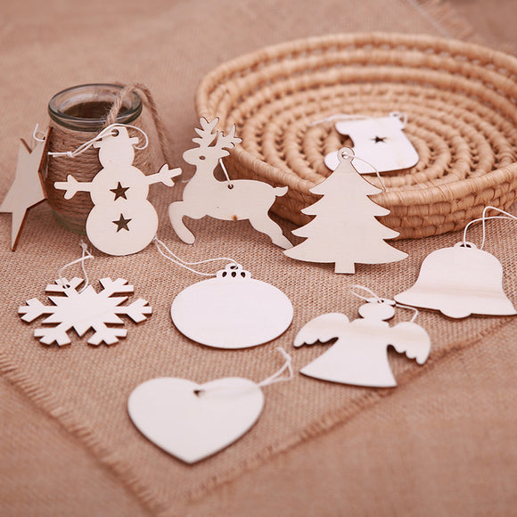 10pcs/lot Christmas Tree Wooden Pendant Scene Decoration Hanging Decoration