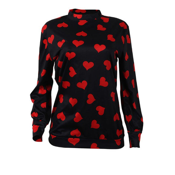 Women Valentine's Day Love Long Sleeve T-Shirt Winter Bottoming Shirt Blouse Top
