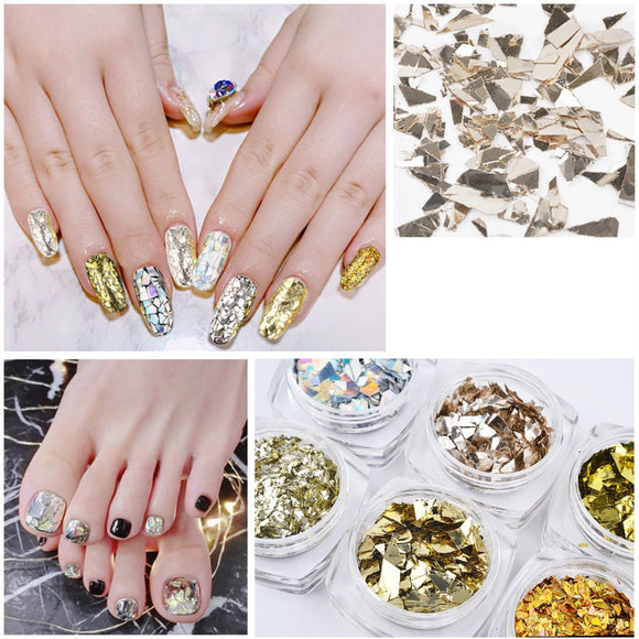 6 Colors Packed Shiny Fantasy Cellophane Nail sequins Nail Accessories