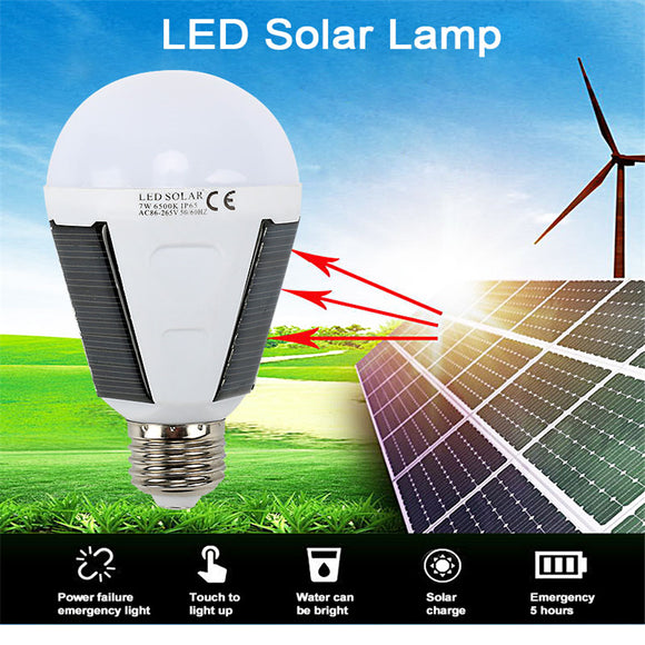 Solar Led Emergency Light Bulb Solar Energy Saving Bulb Lamp