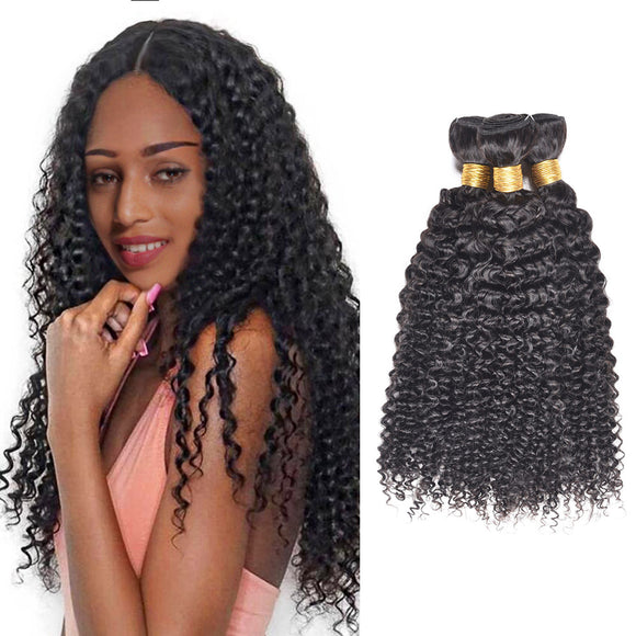 16 Inch 100% Human Hair Black Kinky Curly Hair Weave Hair Extension