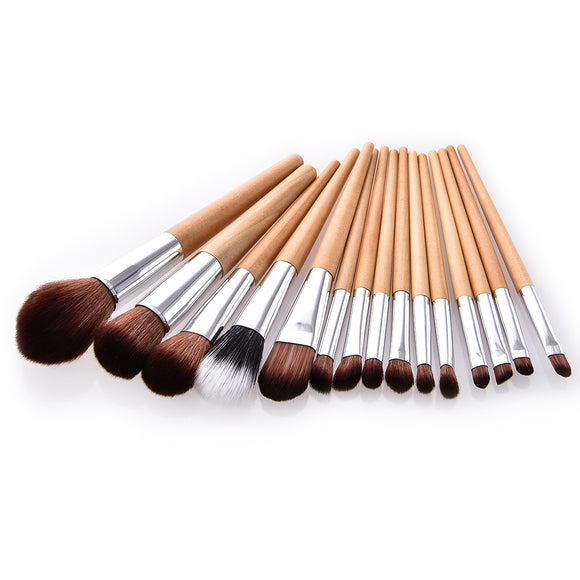 15Pcs Wooden Handle Professional Makeup Brush Sets
