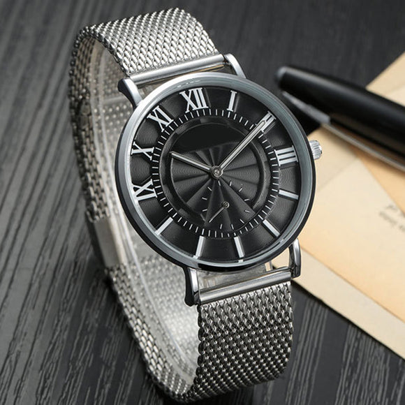 Men Fashionable Ultrathin Steel Mesh Watchband Casual Quartz Watch