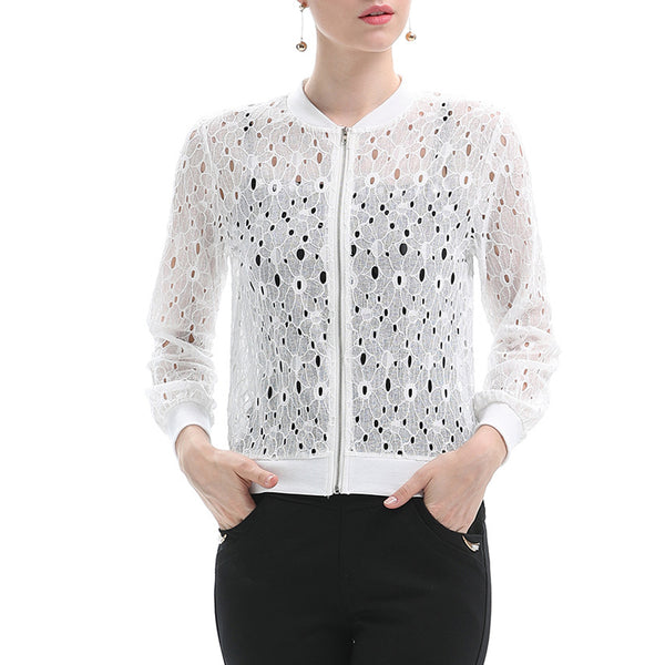 Women's Sun Proof Coat Solid Color Lace Outwear