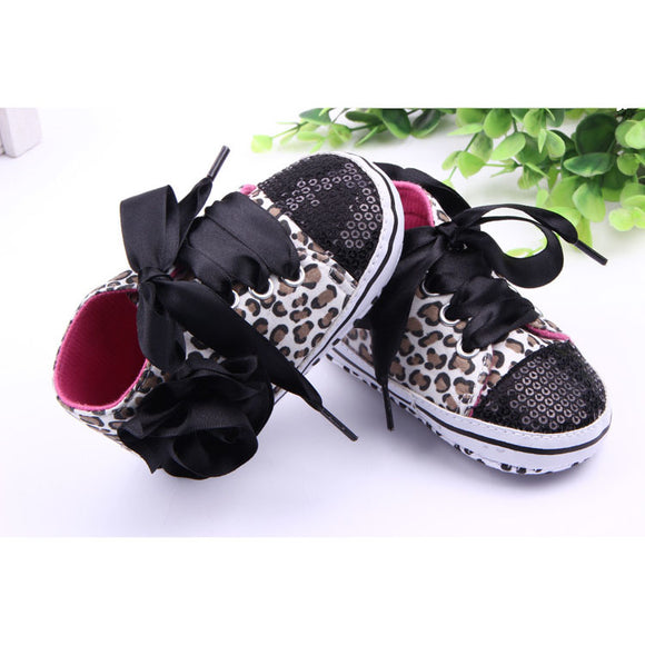 NEER Toddler Baby Girls Shoes Floral Leopard Sequin Infant Soft Sole First Walker Cotton Shoes