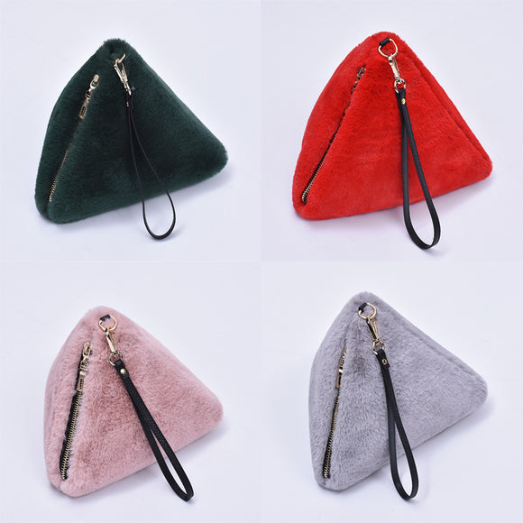 Winter New Fashion Imitation Fur Triangular Three-dimensional Wallet