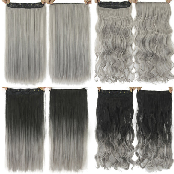 Granny Grey Fashionable Synthetic Hair Extension Wig Accessories