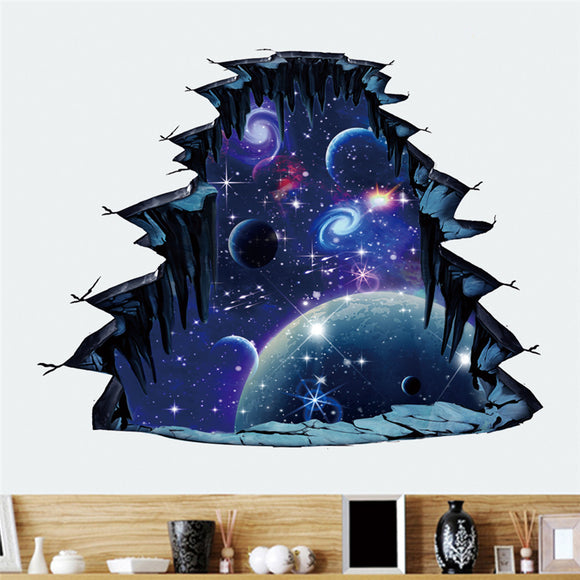Creativity 3D Stereoscopic Cosmic Breaking Wall Floor Sticker Home Decoration