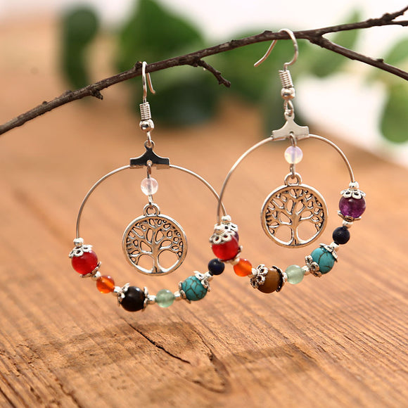 1 Pair Vintage Natural Stone Agate Circular Pendant Women's Earrings