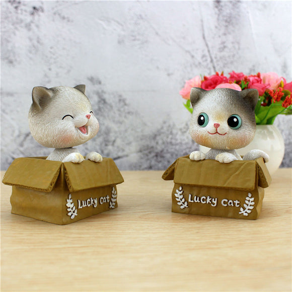 Cute Cat Shaking Head Kitten Interior Decoration Car Accessories Resin High-end Creative Home Gift