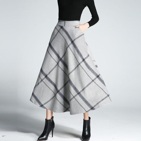 Elegant A-Line Checkered Thicken Woolen Blend Swing Skirts Elastic Waist