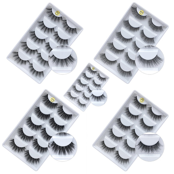 5 Pairs Of False Eyelashes With 3d Mink Hair