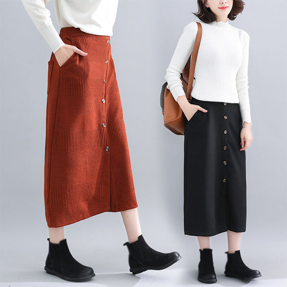 Women Autumn And Winter Single-breasted Elastic Wants Skirt