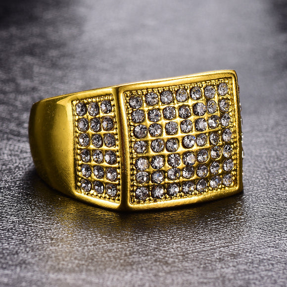 1PC Fashion Square Shaped With Zircon Men's Ring
