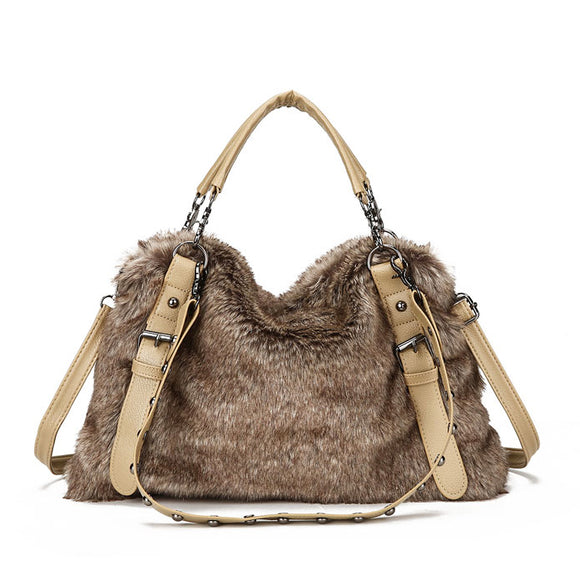 Faux Fur Rivets Retro Shoulder Bags Women Handbags Totes