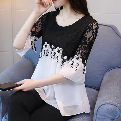 Summer New Women Lace Flower Blouse O-neck Chiffon Bell Sleeve Slim Tops