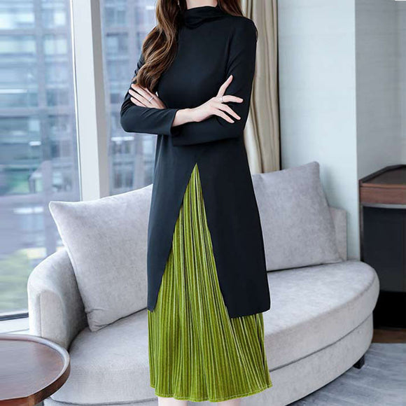 Winter Autumn Two Piece Splicing Elegant Suit