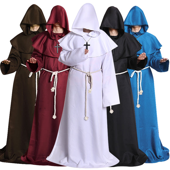 Halloween Cosplay Retro Middle Ages Christian Clothes Set with accessory