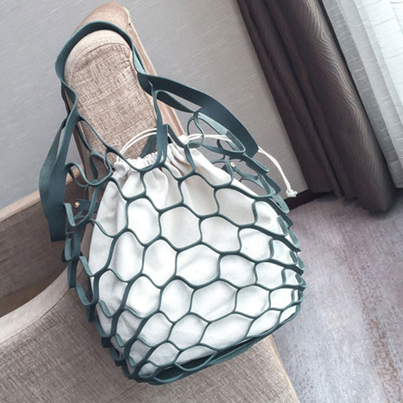 Women Fashion Fishnet Hollow Canvas Scrub Mobile Handbag